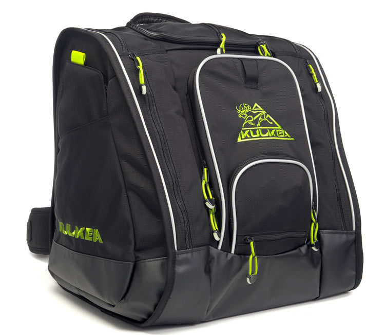 Black Green Ski Boot Bag Kulkea
