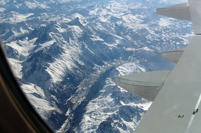 A view of Chamonix from the air